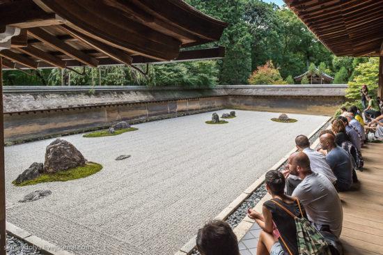 люди смотрят на сад камней