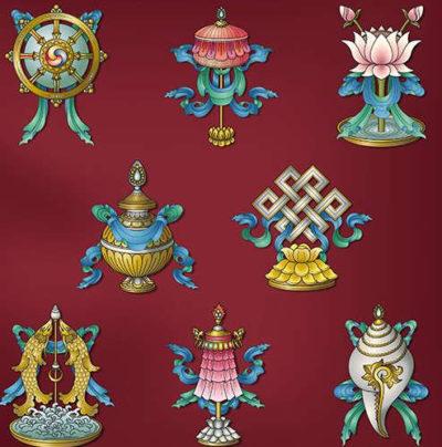 зонт, золотые рыбки, свастика, раковина, колесо, лотос
