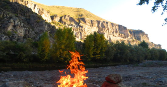 Огонь в горах в Тибете